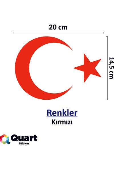 Quart Ay Yıldız Sticker Türk Bayrağı Sticker