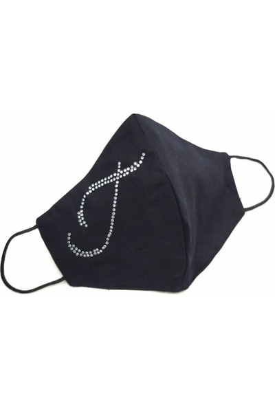Moots Swarovski Taşlı T Harfi YIKANABİLİR%100 Pamuklu Maske