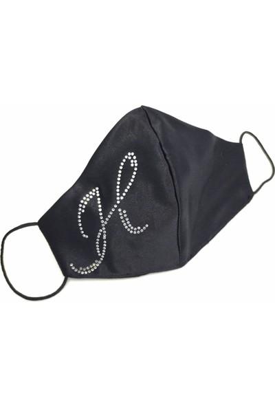 Moots Swarovski Taşlı H Harfi Yıkanabilir %100 Pamuklu Maske