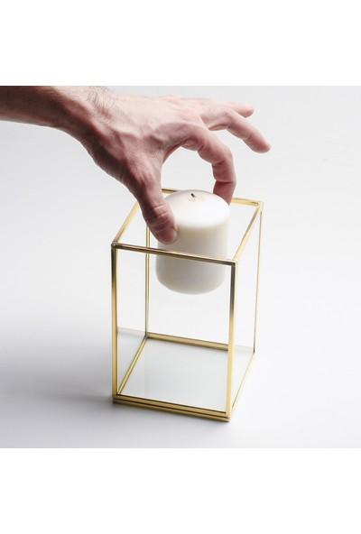 El Crea Designs Gold Pirinç Brass Dekoratif Cam Mumluk 10 x 10 x 15 cm