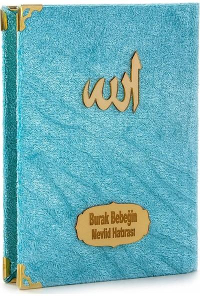 İhvan 10 Adet Kadife Kaplı Çanta Boy Yasin Kitabı Allah Lafızlı İsme Özel Plakalı Mavi Mevlüt Hediyelikleri 1113