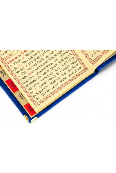 İhvan 10 Adet Kadife Kaplı Yasin Kitabı Tül Keseli İsme Özel Plakalı Tesbihli Lacivert