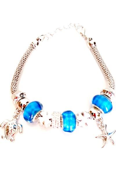 Mixperi Pandora Modeli Kaplumbağa ve Yıldız Figürlü Zirkon Taşlı Mavi Boncuklu Gümüş Rengi Bileklik
