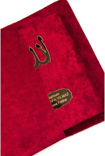 İhvan 10 Adet Kadife Kumaş Kaplı Keseli ve Tesbihli Yasin Kitabı Seti - İsme Özel Plakalı - Bordo