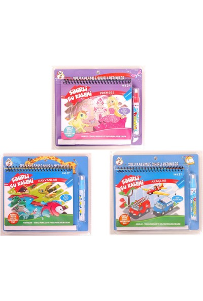 Gepettoys Sihirli Su Ile Boyama Kitabı Seti Hayvanlar - Araçlar - Prenses