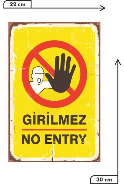 Dekolia Girilmez No Entry Retro Vintage Ahşap Mdf Tablo DRTR0011