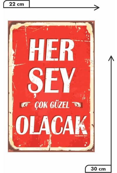 Dekolia Her Şey Çok Güzel Olacak Retro Vintage Ahşap Mdf Tablo DRTR0036