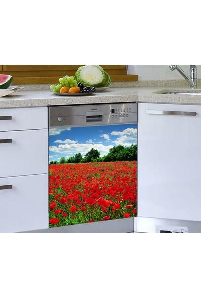 Jasmin Bulaşık Makinesi Sticker Kırmızı Çiçekler