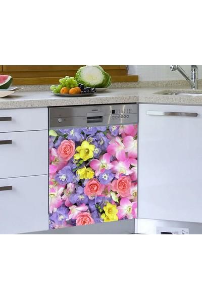 Jasmin Bulaşık Makinesi Sticker Pembe Mor Çicekler