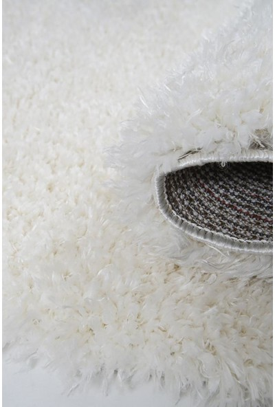 Kuga Beyaz Yuvarlak Dokuma Post Halı 80 x 80 cm