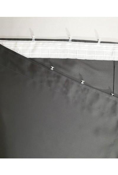 Modern House Karartma Perde Blackout Fon Perde Koyu Gri Düz Dikim 100 x 180 cm