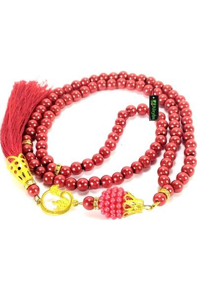 Aleyha1 İnci Tesbih Kırmızı Renkli