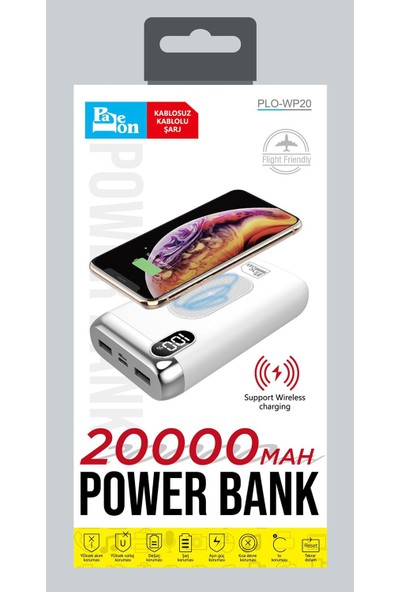 Paleon 20000mAh Kablosuz Powerbank