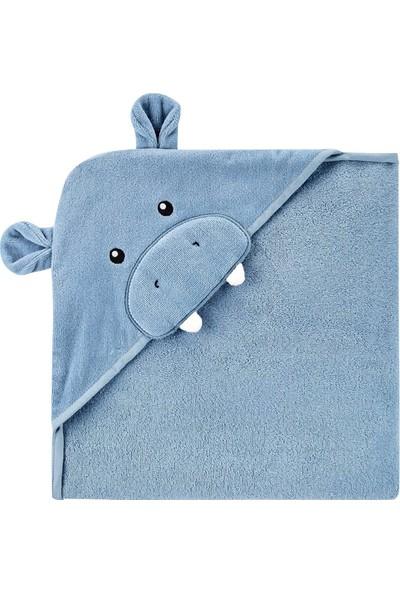 Carter's Hippo Desenli Kapüşonlu Bebek Havlusu