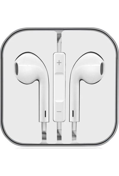 Kensa İphone 5/5S/6/6S 3.5mm Jak AUX Mikrofonlu Stereo Kulak Içi Kulaklık Beyaz