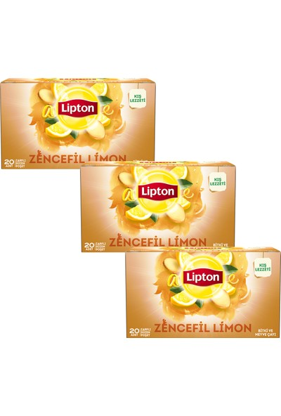 Lipton Bardak Poşet Bitki Ve Meyve Çayı Zencefil Limon 20'Li x 3 Adet