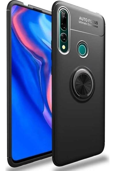 Fibaks Huawei Y9 Prime 2019 Kılıf Ravel Metal Yüzüklü Standlı Shockproof Silikon Siyah