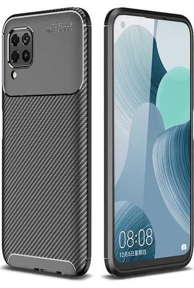 Fibaks Huawei P40 Lite Kılıf Rugged Armor Negro Karbon Silikon Siyah