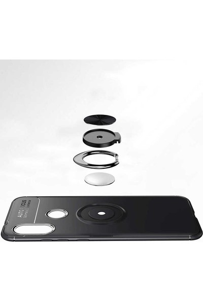 Fibaks Huawei Y9 Prime 2019 Kılıf Ravel Metal Yüzüklü Standlı Shockproof Silikon Siyah - Rose