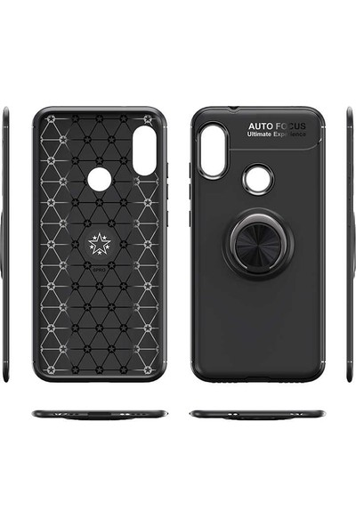 Fibaks Samsung Galaxy A9 2018 Kılıf Ravel Metal Yüzüklü Standlı Shockproof Silikon + Nano Cam Siyah - Kırmızı