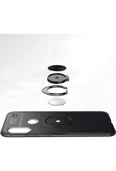 Fibaks Xiaomi Redmi 8A Kılıf Ravel Metal Yüzüklü Standlı Shockproof Silikon Siyah