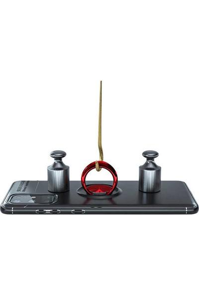 Fibaks Xiaomi Mi A3 Kılıf Ravel Metal Yüzüklü Standlı Shockproof Silikon Siyah - Rose