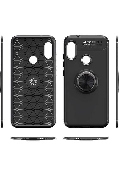 Fibaks Xiaomi Redmi Note 8T Kılıf Ravel Metal Yüzüklü Standlı Shockproof Silikon Siyah - Kırmızı