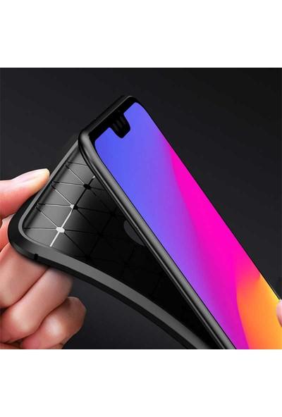 Samsung Galaxy M30S Kılıf + Ekran Koruyucu Rugged Armor Negro Karbon Silikon Kahverengi