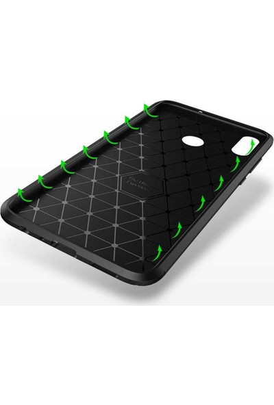Fibaks Xiaomi Mi A3 Kılıf Rugged Armor Negro Karbon Silikon Siyah