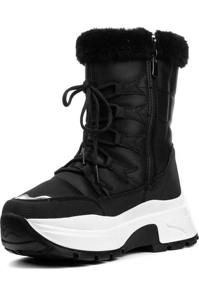 Twingo Siyah Kadın Kürklü Bot Kışlık Ayakkabı