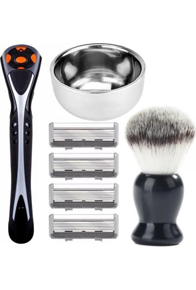 Qualis Shave J6 Makine + Fırça + Kase + 4 Adet Kartuş - 6 Bıçak