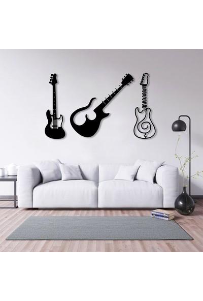 Karaen Gitarlar Temalı Dekoratif Metal Tablo