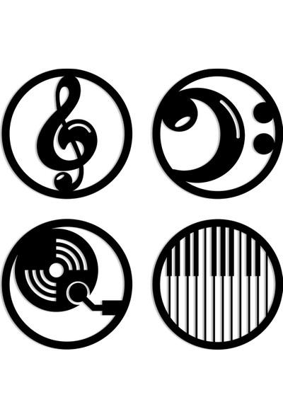 Karaen Müzik Icon 4*lü Takım Dekoratif Metal Tablo