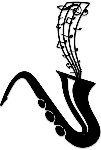Karaen Saksafon Jazz Müzik Temalı Metal Tablo