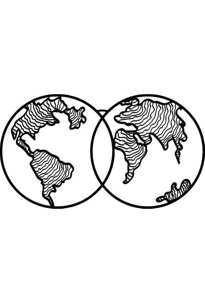 Karaen World Map Wave Dekoratif Metal Dünya Haritası Dekor