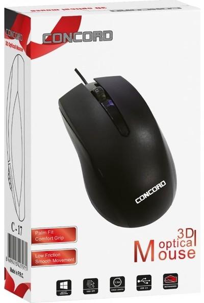 Concord C-17 3D Kablolu 1000 Dpı Optik Mouse