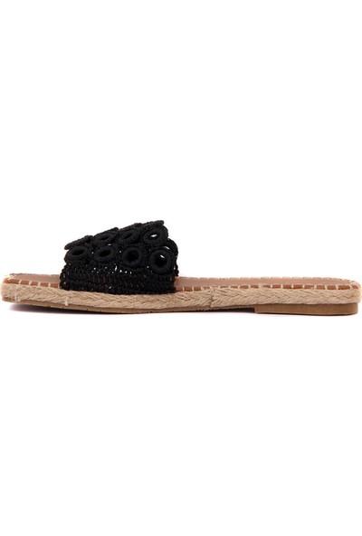 Moxee - Siyah Renk Örgülü Kadın Terlik