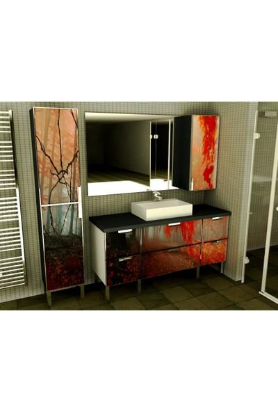 Artila Işıklı Kapaklı Kızıl Orman Seramik Çanak Lavabolu , Pvc Tezgahlı , 160 x 200 Aynalı Banyo Dolabı + 40 x 200 Boy Dolabı