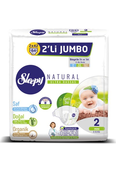 Sleepy Bebek Bez 2 Numara Mini 2'Li Jumbo 3 - 6 Kg