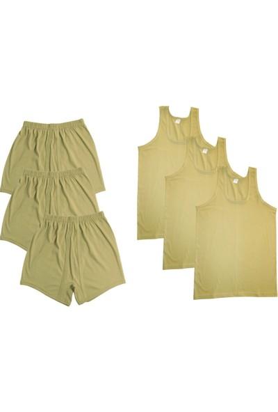 Seher Yıldızı 3'lü Acemi ve Bedelli Askeri Malzeme İç Çamaşırı Seti Askılı Atlet- Baksır