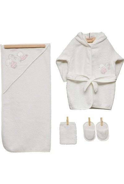 Bebitof Balerin Ayıcıklar Kız Bebek Bornoz Seti 3314