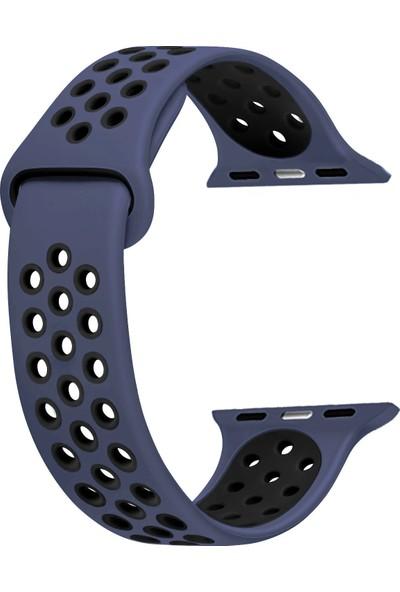 CaseUp Apple Watch 2 42mm Silikon Sport Band Lacivert - Siyah