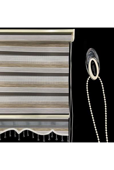 Lucra Concept Zebra Perde 694-5 Etek Dilimli & Boncuklu Kahve MZ694-5EB 40 x 200 cm Kahve