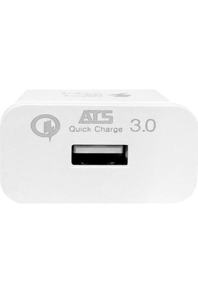 Ats Apple İphone İpad 5V 3.5 A Lightning Hızlı Şarj Kablosu + İphone Şarj Başlığı 1m Duvar Şarjı