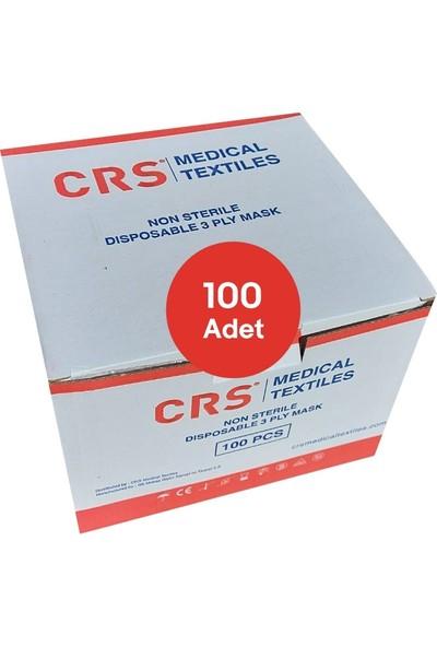 CRS 3 Katlı Cerrahi Maske Burun Telli Sertifikalı Full Ultrasonic 100 Adet Tek Kutu
