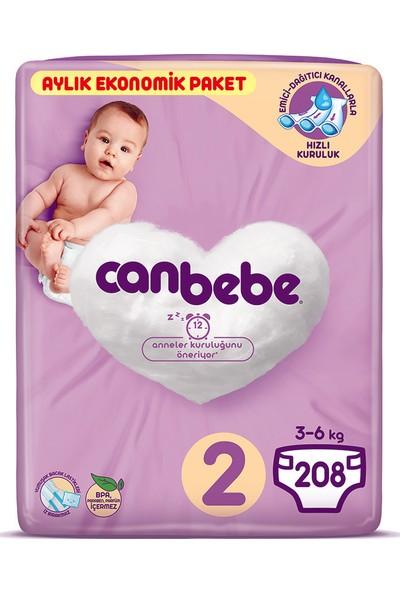 Canbebe Bebek Bezi 2 Beden Mini Aylık Ekonomik Paket 208 Adet