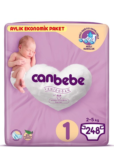 Canbebe Bebek Bezi 1 Beden Yeni Doğan Aylık Ekonomik Paket 248 Adet