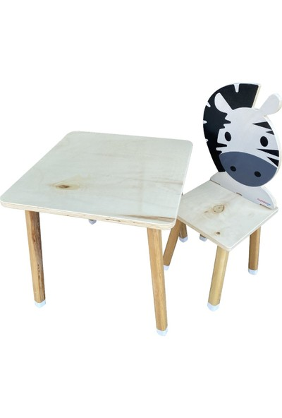 Odun Concept Doğal Ahşap Çocuk Aktivite Masa ve Sandalye Takımı Zebra