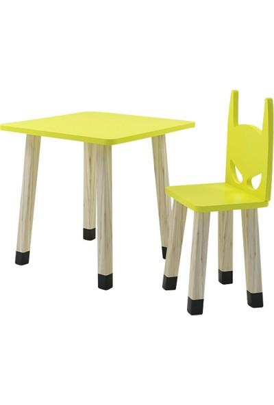 Odun Concept Ahşap Çocuk Oyun ve Aktivite Masa Sandalye Takımı Ahşap Batman Sarı