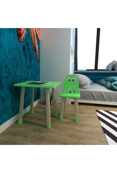 Odun Concept Ahşap Çocuk Oyun ve Aktivite Masa Sandalye Takımı Ahşap Ahtapot Yeşil
